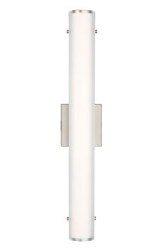The Halo 24 bath light by Tech Lighting: Features a warm contemporary design that is universally appealing. At its core, this vanity light's oval inner glass diffuser is beautifully echoed by a secondary semi-translucent micro-frosted glass diffuser to create alluring dimension and depth with highly functional illumination. In a Satin Nickel Finish.