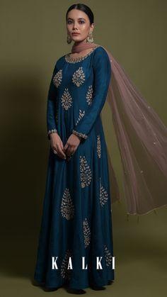 Teal Anarkali Suit In Silk With Zardozi And Cut Dana Embroidered Leaf Motifs Online - Kalki Fashion Anarkali Gown, Anarkali Suits, Gown Drawing, Embroidered Leaves, Teal Fabric, Beautiful Suit, Silk Suit, Bindi, Indian Designer Wear