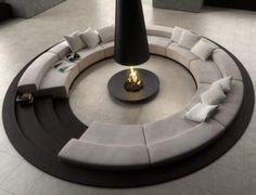 Talk about a fire pit. What a great gathering place for guests and family | #fireplace #fire #interiordesign