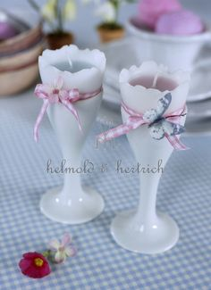hand poured candles in milk glass vases