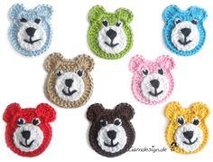 Bear 1 out of 8 Free choice of color - handarbeiten Crochet Hair Clips, Crochet Bib, Crochet Coaster Pattern, Crochet Baby Booties, Cute Crochet, Crochet Motif, Beautiful Crochet, Crochet Crafts, Crochet Flowers