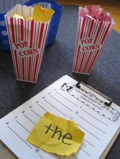 Sight words: 'Popcorn Words' (pick, read, write) + recording sheet