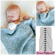 Knitted Baby Lace Blanket - Free Pattern #freepattern #freeknitpattern #babyblanket Knitted Baby Blankets, Baby Blanket Crochet, Crochet Baby, Knit Crochet, Lace Patterns, Knitting Patterns Free, Free Pattern, Crochet Patterns, Knitting For Kids