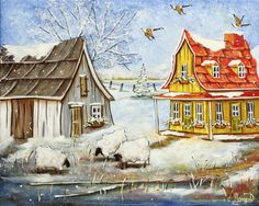 Christine Genest ~ Winter! One Stroke Painting, Painting & Drawing, Sheep Art, Perfect Peace, Storybook Cottage, Art Story, Country Art, Oeuvre D'art, Designs To Draw