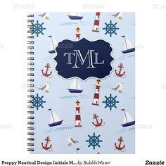 Preppy Nautical Design Initials Monogram Notebook