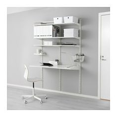IKEA - ALGOT, Wall upright/shelves, The mounting rail helps you hang ALGOT wall uprights evenly and the right distance from each other.Wall uprights are the base for a ALGOT wall-mounted storage solution, and you can easily create your solution by clicking in ALGOT brackets wherever you want a shelf or other accessory – no tools needed.You click the brackets into the ALGOT wall uprights wherever you want to have a shelf or accessory – no tools needed.If your needs change, you can quickly...