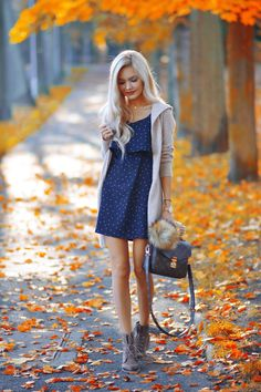 long cardigan and cute polka dot dress with boots