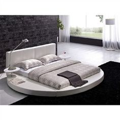 King size Round Bed with White Leather Headboard and Nightstands