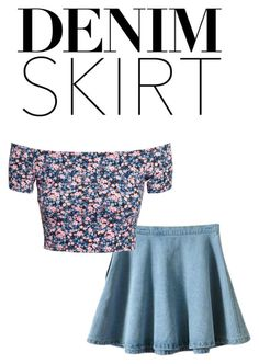 """""""denim skirt"""" by annieanne-tumblr13 ❤ liked on Polyvore featuring Retrò and H&M"""