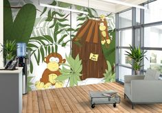 A playful wallpaper design for your kids feature wall called Little Monkey's Playhouse