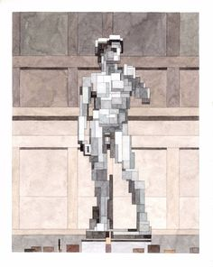 David, Art History 101 series by Adam Lister.(Original Marble statue by Michelangelo, 1501-4).