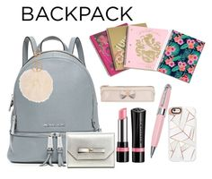 """My backpack"" by stylewiktoria ❤ liked on Polyvore featuring MICHAEL Michael Kors, Juicy Couture, Rimmel, Ted Baker, ICE London, Casetify, Armitage Avenue, backpack and inmybackpack"
