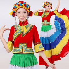 female Chinese Minority costume Hmong miao YI dance performance Costume 2016 dance clothes clothing stage