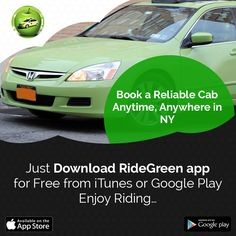 Book a reliable cab, anytime, anywhere in NY. Just download RideGreen app for free from iTunes or Google Play. Enjoy riding.  Play Store Download Link: https://play.google.com/store/apps/details?id=com.ridegreen.rider&hl=en  iTunes Download Link: https://itunes.apple.com/us/app/ridegreen/id1160674477?mt=8  #GreenCabs #GreenTaxiBrooklyn #RideGreen