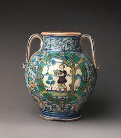 #Maiolica  --  Pharmacy Jar  --  Circa 1500-20  --  Likely Siena  --  The Metropolitan Museum of Art