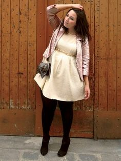 Love the creamy off-white minidress with metallic cropped jacket. This is a flattering look for a curvy girl and not too warm for a Florida winter.