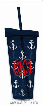 Monogrammed 22oz Navy Anchors Double Wall Acrylic Cup