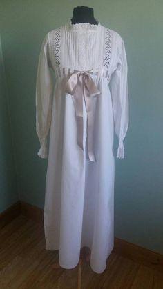 Zierliche antike Nachthemd reich Linie weiß Baumwolle lange