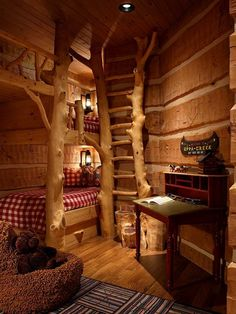 Enchanting Lodge Design with Natural Look : Fascinating Kids Room Rustic Decor Mountain Air Family Lodge