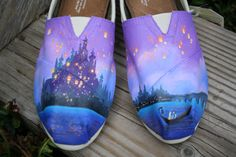 Fairytale Original Custom Acrylic Painting for Toms/Canvas Shoes Hand Painted Toms, Painted Shoes, Disney Toms Shoes, Disney Vans, Toms Canvas Shoes, White Toms, Toms Shoes Outlet, Shoe Outlet, Shoe Company