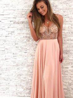 c6825c2b75a Charming V Neck Open Back Brush Pink Chiffon Long Prom Dress with Beading