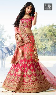 Buy Peach & Hot Pink Stone Work Satin Silk Lehenga Choli online in India at best price.Peach And Hot Pink Stone Work Satin Silk Lehenga Choli