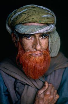 .Kashmiri man with henna beard