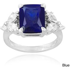Icz Stonez Sterling Silver Created Gemstoneand Cubic Zirconia Ring ($30) ❤ liked on Polyvore featuring jewelry, rings, blue, emerald cut cz ring, band rings, cz rings, wide band rings and sterling silver cubic zirconia rings