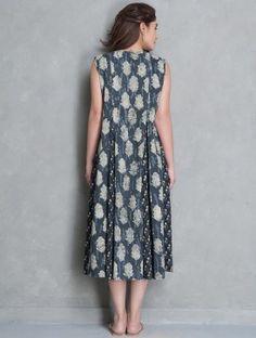 Indigo-Off White Block Printed Cotton Kali Dress by Jaypore