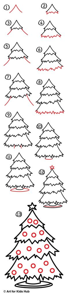 Follow along with us and learn how to draw a Christmas tree. We\'ll also show you how to color it and make it look super amazing :):