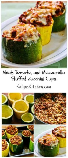 These Meat, Tomato, and Mozzarella Stuffed Zucchini Cups are a great way to use those giant zucchinis that suddenly show up in the garden, and this recipe has been a huge hit on my blog. [from KalynsKitchen.com] #LowCarb #GlutenFree #SouthBeachDiet