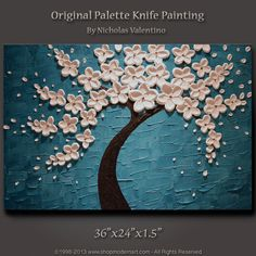 """Large 36""""x24""""x1.5"""" Original Blossom Tree Painting - Turquoise - Palette Knife Impasto Textured on Gallery Canvas - FAST FREE SHIPPING !!!"""