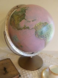 pretty in pink Vintage Upcycled Pink World Globe Home Office by bauble2bijou