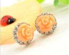 """Coral Rose Flower Crystal Earrings small round gauges plugs earring 0g 00g 7/16"""" 1/2"""" 8mm 10mm 11mm 13mm"""
