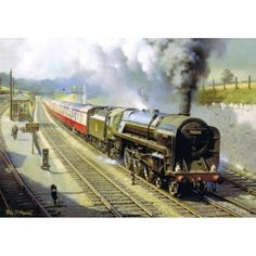 """STORM OVER DAINTON - Standard Class 7 70015 by Philip D. The Standard locomotive, more commonly known as 'Britannias"""" after the lead locomotive were an outstandingly successful type and worked all over Britain during the and Train Art, By Train, Transport Pictures, 10 Year Plan, Steam Art, Steam Railway, Train Tickets, Steam Engine, Steam Locomotive"""
