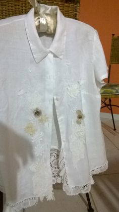 customized linen  vintage blouse with Belgium lace, and old embroideries