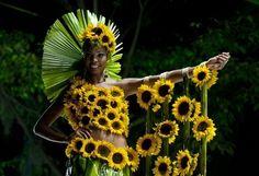 AFP |「自然の美」を取り入れたファッションショー、コロンビア