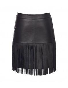 Scoop Black Leather Fringe Skirt