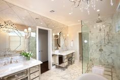 , Fascinating Elegant Modern Bathroom With Wonderful Antique Mirror Tiles And Elegant Mirror Vanity Design With White Marble Floor Also Glass Wall Shower Room And Fabulous Chandelier Design: Charming Antique Mirror Tiles for Popular Interior House Design Bathroom Mirror Design, Diy Bathroom Vanity, Modern Bathroom, Bathroom Ideas, Bathroom Mirrors, Master Bathrooms, Bathroom Designs, Bathroom Faucets, Bathroom Pictures