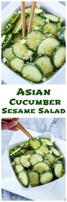 Asian Cucumber Sesame Salad This fresh gluten free vegan cucumber salad is full of delicious Asian flavors!