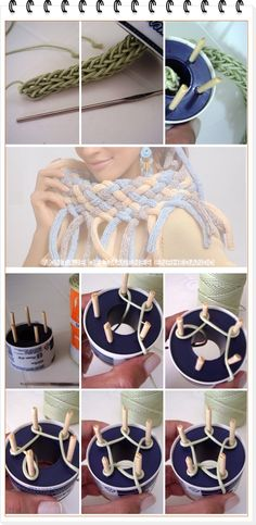 Discover thousands of images about Como hacer una Bufanda-Cuello Trenzado con Tricotin - Spool knitting Shawl by helena Spool Knitting, Loom Knitting Projects, Loom Knitting Patterns, Crochet Patterns, Crochet Motifs, Knit Crochet, Tricot Simple, Knifty Knitter, Loom Weaving