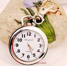 New Big Round easy to read time Key Ring pocket Watch quartz UKZ88  | eBay