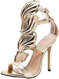 4FSGLOBAL Women High Heels Gold Winged Leaves Stiletto Gladiator Party Shoe  Composite Leather Wedding Shoe First d8b5a2a9803d