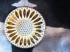 Sunflower in Lemonade Czech Glass Button 32mm by seethrusand, $7.40