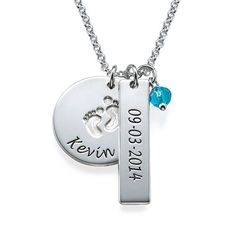 You may select a birthstone from the list below:For new moms out there, we have a beautiful necklace just for you, the New Mom Jewelry - Baby Feet Charm Necklace. This new mother necklace provides multiple opportunities to remember this special date. First, you can engrave the baby feet pendant with any name you want. On the bar pendant, put the date of your special new addition. And lastly, choose the corresponding birthstone to hang down! Any mom would love to receive this baby feet ...