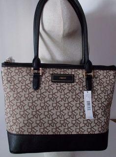 New Dkny T C W Vintage Pu Logo Plaque Handbag Tote Satchel Bag Purse Chino Black