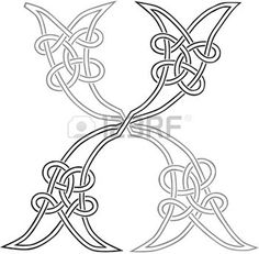A Celtic Knot-work Capital Letter X Stylized Outline photo