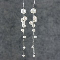 Bridal Pearl long dangling chandelier statement earrings Bridesmaids gifts Free US Shipping handmade Anni Designs on Etsy, $15.95