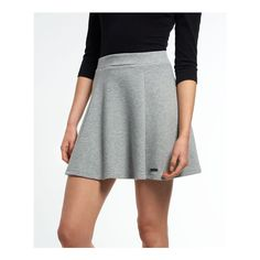 Superdry Christa Jacquard Skater Skirt (920 MXN) ❤ liked on Polyvore featuring skirts, grey, grey skater skirt, jacquard skirt, textured skirt, circle skirts and superdry
