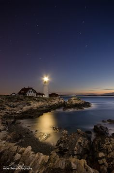 Night Light by Moe Chen, via 500px; Portland Head Lighthouse, Maine